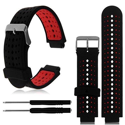 Pour Garmin Forerunner 220/230/235/620/630,Cooljun Bande de montre-bracelet de rechange de silicone souple (rouge)