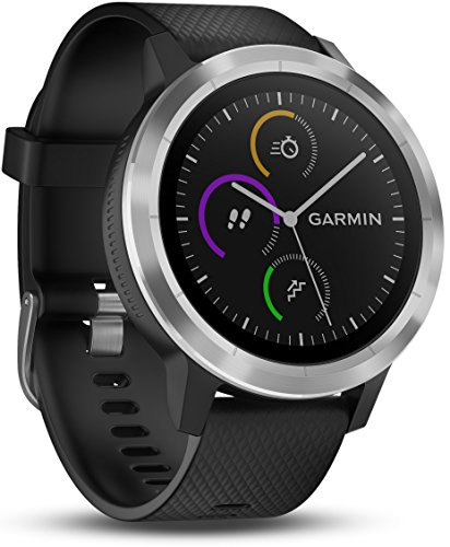 Garmin - Vivoactive 3 - Montre Connectée de Sport avec GPS et Cardio Poignet (Ecran : 1,6 pouces) - Argent avec Bracelet Noir