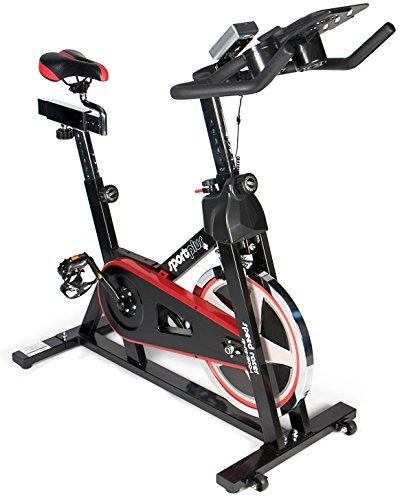SportPlus - Speedracer/Speedbike avec Support de Tablette - Application connectée - Compatible avec Ceinture pectorale Bluetooth - Roue d'inertie env. 13 kg - Résistance réglable en continu