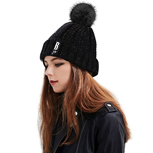 Bonnet Femme Hiver,Proking Fourré Chaud Crochet Laine Mesdames trapu douce câble bonnet en tricot avec confortable doublure polaire amovible en fausse fourrure et pompon Ski Chapeau avec Gros