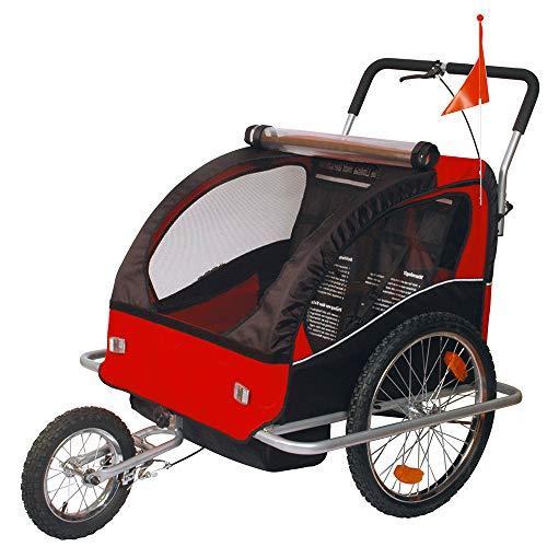 Convertible Jogger Remorque à Vélo 2 en 1, pour enfants - 502-01 Rouge/Noir