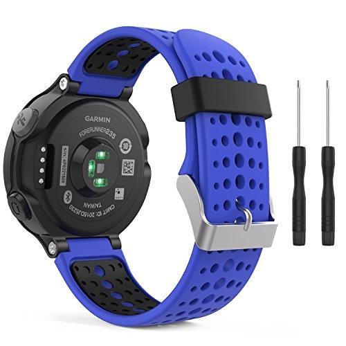 MoKo Bracelet Compatible avec Garmin Forerunner 235/220/230/620/630/735 Smartwatch, Watch Band Flexible en Silicone avec des Outils Montre de Running GPS avec Cardio au Poignet, Bleu Roi et Noir