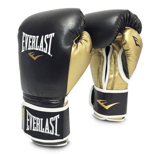 Everlast Powerlock Gants de boxe d'entraînement en polyuréthane Article de boxe XL Noir/doré (14 OZ)
