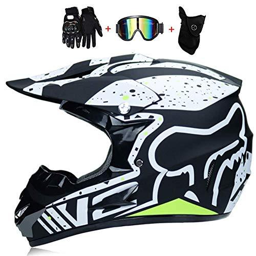 SK-LBB Casque de motocross avec lunettes, cagoules et gants (jeu de 4 objets)
