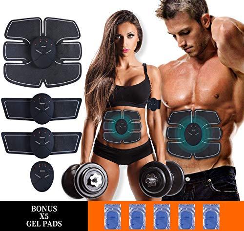 MASOMRUN Electrostimulateur Musculaire Entraînement Abdominal/Cuisse/Bras Muscle EMS Forme d'exercice Fitness,Ceinture Abdominale Electrostimulation et 10 Coussinets de Gel …