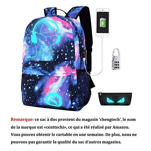 Sac à Dos lumineux Ecole Enfant,Unisexe Fille Garçon Bleu Anime Enfant Teenager adultes homme Collège Scolaire Sac Glow de Voyage Sport pour Ordinateur pour l'école avec Port de Chargement USB (Grand)