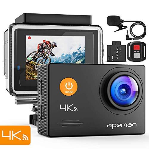 APEMAN Caméra Sport 4K Ultra HD 16MP WiFi Caméra d'action Étanche 40M LCD 2.0 Pouces 170°Grand-Angle et Microphone Externe avec 2 Batteries et Un Kit Complet d'Accessoires