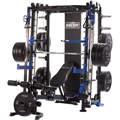 Maxxus Multipress 10.1 Station de Musculation Universelle –Power Cage à Squat -Barre d'Haltère Guidée –Banc de Musculation Inclus –Double Barre de Traction Reglable en Hauteur -Charge 250kg