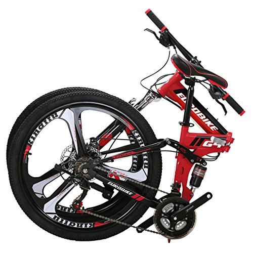 Eurobike vélo Pliant G4 21 Vitesses vélo de Montagne 26 Pouces Roues à 3 Rayons VTT Double Suspension vélo (Red)