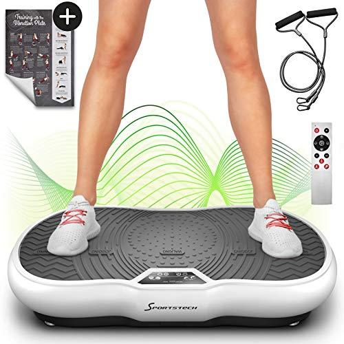 Sportstech Plate-Forme vibrante VP200 Technologie Oscillation Bluetooth, Affiche Incluse, Sangles Cordes de Traction télécommande, Haut-parleurs intégrés Plateforme oscillatoire Massage (Blanc)