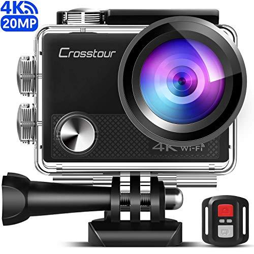[Version améliorée] Crosstour Caméra Sport 4K Wi-FI 20MP Ultra HD étanche 40M Action Camera Télécommande avec 2 Piles et Un kit d'accessoires Complet