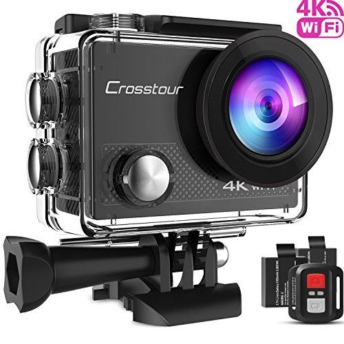 Crosstour Caméra Sport 4K Ultra HD Wi-FI 16MP avec Télécommande Appareil Photo Caméscope Étanche 30M 170 °Grand-Angle avec 2 Pouces LCD 2 Batteries Rechargeables 1050mAh et 18 Accessoires CT9000