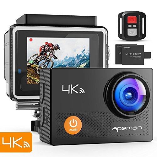 APEMAN 【Actualisé】 Caméra Sport 4K Ultra HD 16MP Wi-FI avec Télécommande Appareil Photo Caméscope Étanche 30M 170 °Grand-Angle avec 2 Pouces LCD 2 Batteries Rechargeables 1050mAh et 24 Accessoires