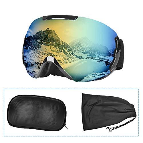 Lunette de Ski,Masque Ski sphériques avec Double Lentille Anti-buée,Coupe-Vent,Protection UV 100%,Lunettes de Protection de Snowboard OTG Ajustables, Anti-reflets Grand Angle,pour Homme/Femme