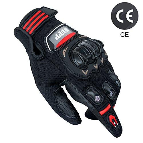Gants Moto Eté Homologué CE, Gants Homme Femme Plein-Doigt Respirable avec Ecran Tactile pour Téléphone GPS, Protection Pour Moto Motocross Scooter Vélo Camping Randonné (1 paire:L)