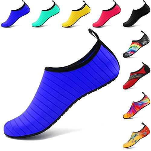 VIFUUR Chaussures de sport nautique Pieds nus à séchage rapide Aqua Yoga Chaussettes Slip-on pour Hommes Femmes Enfants Bleu EU36/37