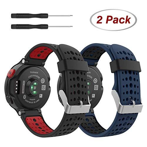 MoKo Bracelet Compatible avec Garmin Forerunner 235/220/230/620/630/735, Montre de Remplacement de Silicone Bracelet Noir,Rouge+Bleu Nuit,Noir
