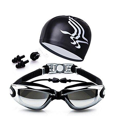 LOLOMODA Lunettes de Natation, Aucune Fuite Anti Brouillard Protection UV de Triathlon avec Pince-Nez Bouchons d'oreilles Coque pour Adulte Homme Femme Youth (Noir)