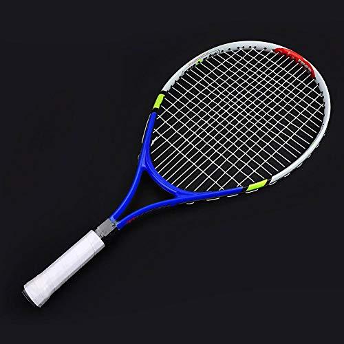 Alomejor Raquette de Tennis 3 Couleurs en Alliage d'aluminium Enfants Corde Simple Raquette de Tennis avec Housse de Transport pour l'entraînement des Enfants(Bleu)