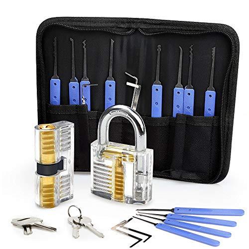 Eventronic Kit de Crochetage Serrure 17 Pièces 2 Serrures, Outils D'entraînement Transparents Cadenas Pour s'entraîner de Serrurier