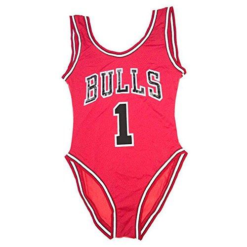 Hihamer Femme Maillot de Bain Elégant Amincissant Monokini Push Up 1 Pièce Shorty Chic (Bulls) (S)