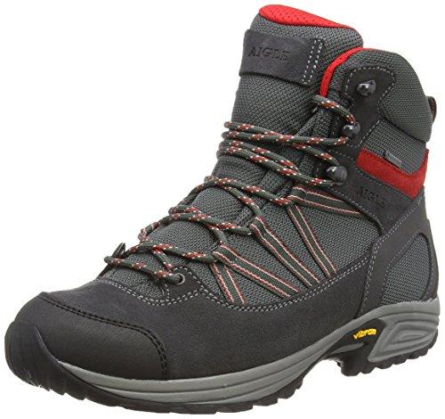 Aigle MOOVEN Mid Gore-Tex, Chaussures de Randonnée Hautes Homme, Gris (Darkgrey/Rouge), 45 EU