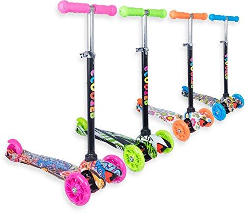 Trottinette 3 roues débutante pour enfant 2 à 10 ans idéal pour apprentissage, couleurs et motifs variés et des roues lumineuses et solides - Pour tourner : inclinez le guidon ! (Rose motif, 3-5 ans)