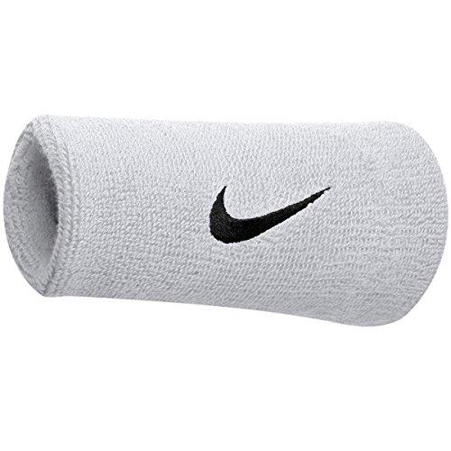 Nike Unisexe Swoosh Wristbands (Paire), Blanc/Noir, Taille Unique