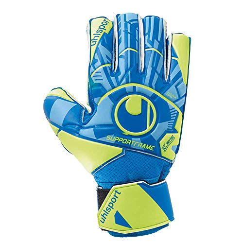 Uhlsport Radar Control Soft SF Junior Gants de gardien de but Mixte Adulte, Bleu/Jaune Fluo/Noir, FR Unique (Taille Fabricant : 7.5)
