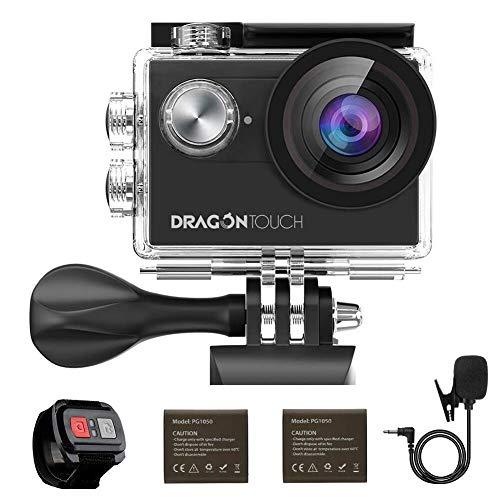Caméra Sport 4k Dragon Touch WiFi avec Télécommande 2.4G & Micro Externe & EIS, Caméra Sportive Etanche sous-Marine, Grand Angle 170°, 2 Batteries 1050mAh Rechargeables, Kits d'Accessoires - Vision 4
