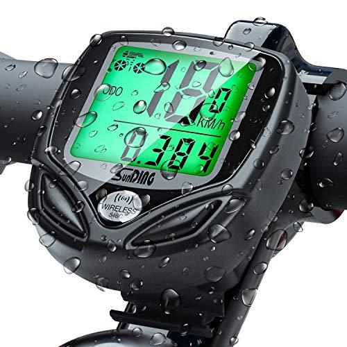 Vegena Compteur de Vélo étanche sans Fil, Multifonction Ordinateur de Vélo avec Rétroéclairage LCD d'affichage de l'écran, Compteur de Vélo Tacho pour Vélo Realtime Speed Track et Distance