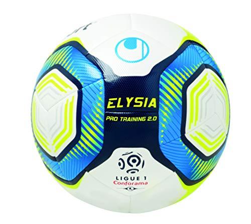 Uhlsport Elysia Pro Training 2.0-Ballons-Taille 5 Adulte Unisexe, Blanc/Metallic Bleu/Jaune, 5