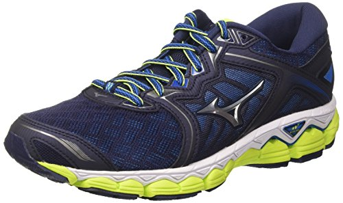 Mizuno Wave Sky, Chaussures de Running Homme, Multicolore (Peacoat/Silver/Safetyyellow), 46.5 EU