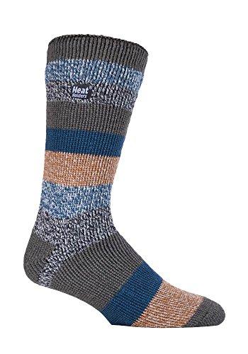 Heat Holders Chaussettes thermiques d'hiver à motif rayé, taille 39–45 -  Beige - Large