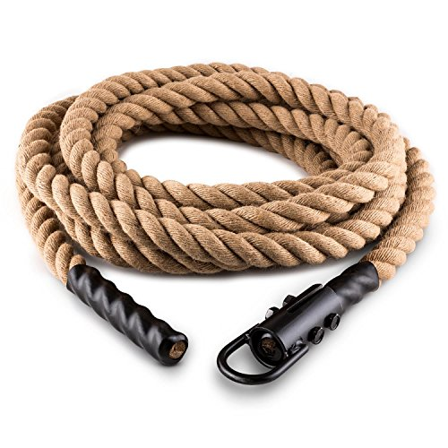Capital Sports Power Rope - Corde Cross-Training de Musculation/Fitness avec Crochets de 12m (Corde de Chanvre)