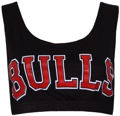 Purple Hanger - Brassière Femme Haut Court Débardeur Sans Manche Extensible Encolure Arrondie Chicago Basketball Université Américaine Imprimé 'Bulls' - Noir, 36-38