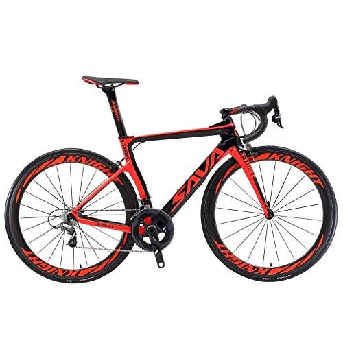 SAVADECK Velo de Route Carbone, Phantom 3.0 700C Vélo de Course Homme Fibre de Carbone Shimano Ultegra 8000 22-Vitesses Système Michelin 25C Pneus Selle Fi'zi: k Route (Rouge,50cm)