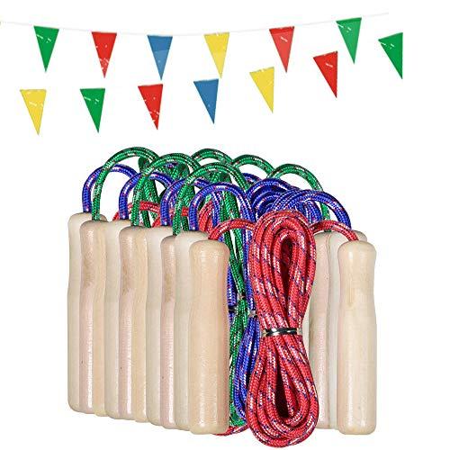 Partituki Pack de 10 Cordes à Sauter. Cordes à Sauter en Bois. Idéal pour Les Jeux en Plein Air et Les Cadeaux d'anniversaire pour Enfants.