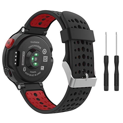 MoKo Bracelet Compatible avec Garmin Forerunner 235/220/230/620/630/735 Smartwatch, Watch Band Flexible en Silicone avec des Outils Montre de Running GPS avec Cardio au Poignet, Noir et Rouge