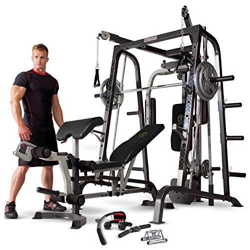 Marcy MD-9010G Home Gym Smith Machine Black - Removable Weight Bench   Linear Ball Bearings   272kg Weight Load by Marcy