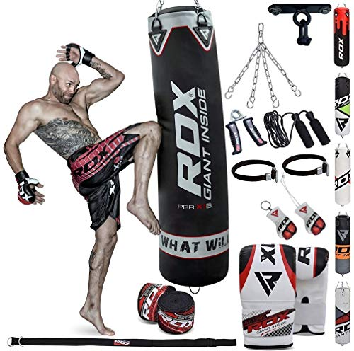 RDX 13PC Sac de Frappe 4FT 5FT Rempli Lourd Punching Ball MMA Muay Thai Kickboxing Arts Martiaux Kit Boxe avec Gants Chaine Suspension Support Plafond Punching Bag