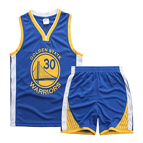 Sokaly Garçon Fille NBA Chicago Bulls Jorden#23 Golden State Curry Basket-Ball Maillots T-Shirt et Shorts Sportwear Ensemble pour Enfant Sports (L(Teenager, Bleu)
