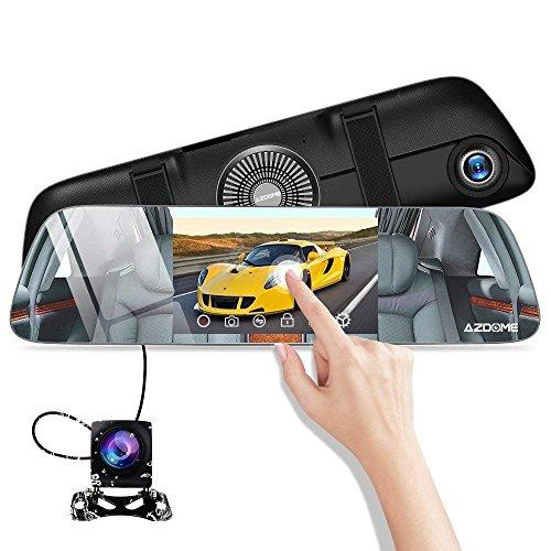 Dashcam Avant Arrière AZDOME 1080P Caméra Embarquée Voiture Mirror Double Objectif à 5.5' Ecran Tactile 170°Angle Etanche Enregistrement en Boucle Moniteur de Stationnement