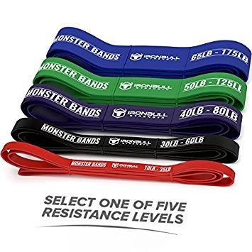 Bandes Élastiques pour Tractions - Bande de Résistance Musculation et Fitness -Extra-Robustes pour Haltérophilie et Dynamophilie - Vendu Séparément (#1 Rouge - 10 à 35 lb)