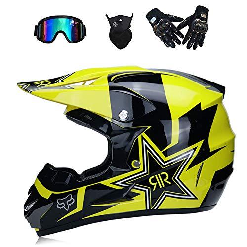 GWJNB Casque Tout-Terrain pour Adultes Dot Dirt Bike Casque De VTT VTT Motocross Casque Intégral/Masques / Masque,Yellow,L