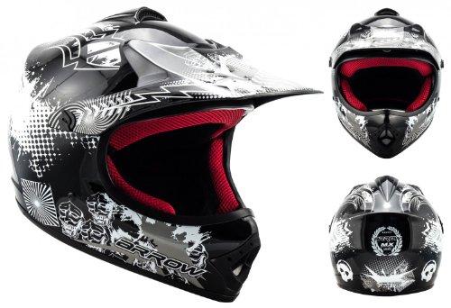Armor · AKC-49 'Black' (black) · Cross casque pour enfants · Kids Cross-Bike MX Pocket-Bike Enduro Sport · DOT certifié · Click-n-SecureTM Clip · Sac fourre-tout · XS (51-52cm)