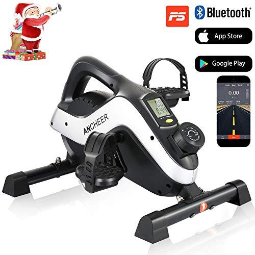 Profun Mini-Vélo Pédalier d'Appartement Portable 8 Niveaux de Résistance magnétique, Vélo d'exercice avec Moniteur LCD pour Exercer Jambes/Bras Maison&Bureau (Noir+Argent(APP))