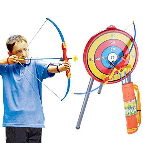 Rolanli l'arc et La Flèche Jouet Emulational pour Enfants Tir à l'arc Ensemble avec 1 Arc 3 Flèches 1 Carquois et 1 Cible