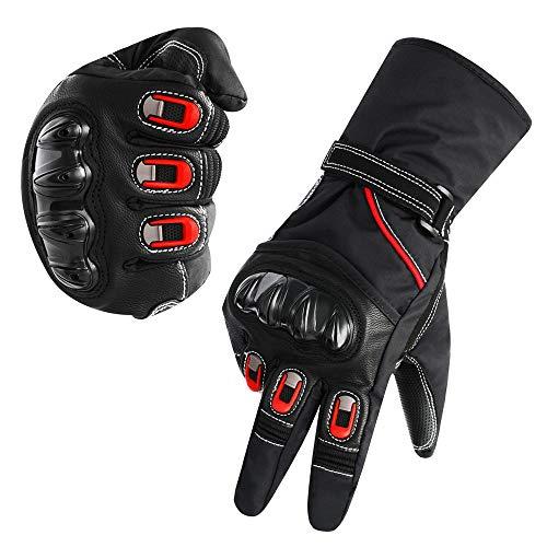 Rameng- Gants Moto Homologué Moto Gants Hiver Chaud Gants de Protection Vélo VTT Professionnel Écran Tactile Téléphone (L, Noir)