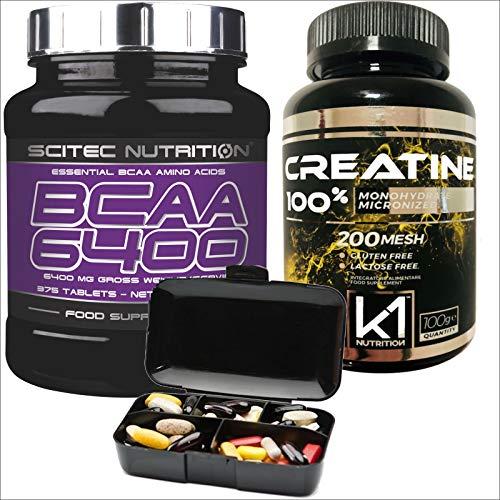 Acides aminés ramifiés de Scitec Nutrition BCAA 6400 375 comprimés + monohydrate de créatine 100 gr. 100% créatine + pilulier Nutriline